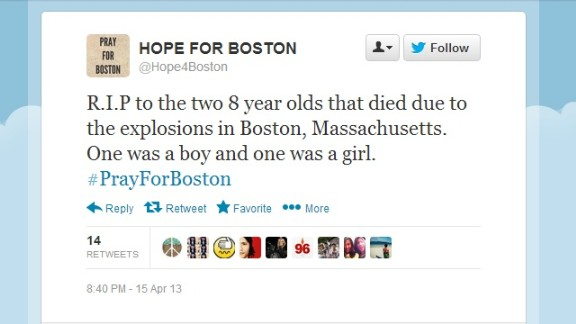 This tweet on a hastily created account wrongly claimed that two 8-year-olds were killed in the Boston bombings.