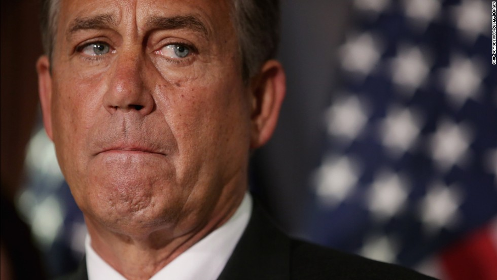 Speaker of the House John Boehner makes remarks after a House GOP caucus meeting on Capitol Hill on Tuesday.