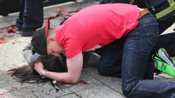 This Boston Globe photo from the attack's aftermath went viral, but with a fake story attached to it.