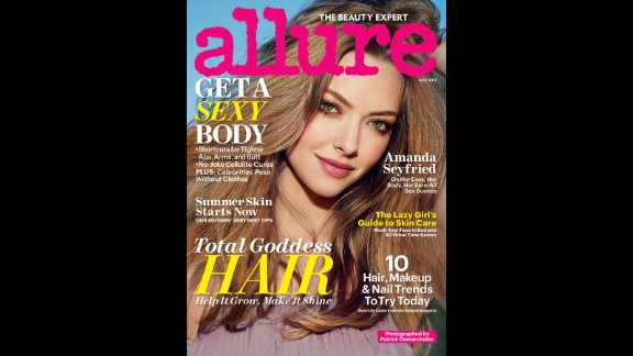 """Amanda Seyfried doesn't hold back in the May issue of Allure magazine. Although she doesn't go nude, like some other stars in the issue, she does speak frankly about her body. """"I saw a picture a couple of days ago from when I was 19, and my boobs were way bigger,"""" she said. """"There was something so beautiful about the size of them. When I look back, I'm like, 'Why did I always give myself such a hard time?' Nobody gave me s*** about it except me."""""""