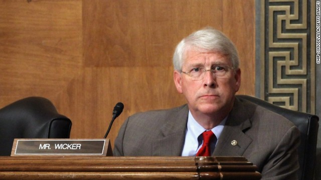 en. Roger Wicker (R-MS) (L) listens to testimony from Federal Emergency Management Agency (FEMA) Administrator Craig Fugate during a committee hearing on Capitol Hill June 9, 2011