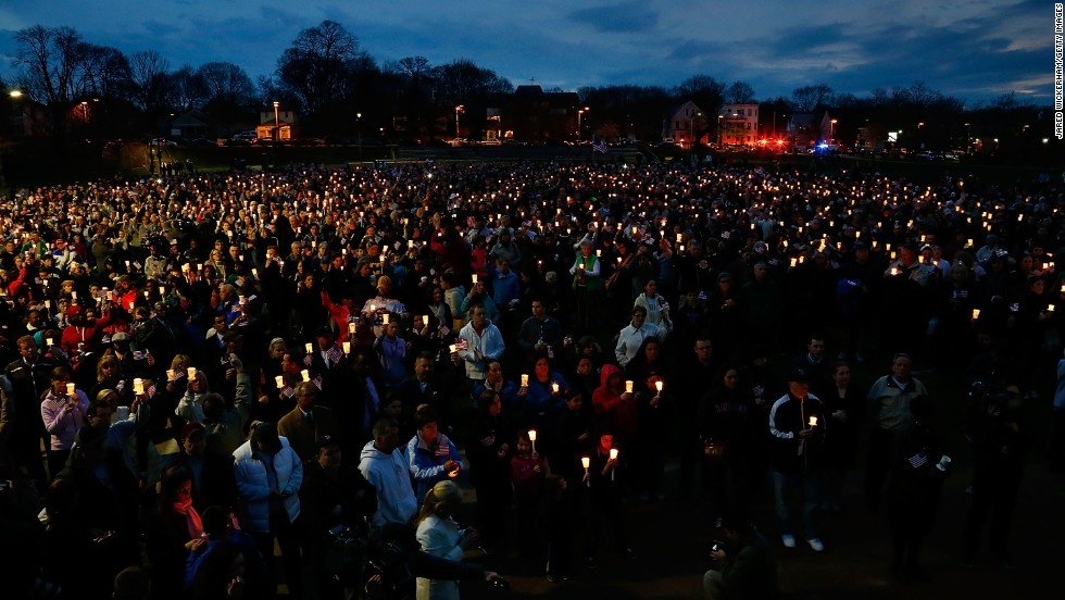 "On April 16, 2013, a vigil was held at Boston's Garvey Park for 8-year-old bombing victim <a href=""http://www.cnn.com/2013/04/16/us/boston-boy-killed/index.html"">Martin Richard</a>. The other victims were <a href=""http://ac360.blogs.cnn.com/2013/04/16/remembering-bombing-victim-krystle-campbell/?iref=allsearch"">Krystle Campbell</a>, a 29-year-old restaurant manager from Medford, Massachusetts, and <a href=""http://www.cnn.com/2013/04/17/us/boston-marathon-student-victim/index.html"">Lingzi Lu</a>, a 23-year-old Chinese national attending graduate school at Boston University."