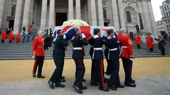 Members of the British armed services carry the coffin of former Prime Minister Margaret Thatcher away from St Paul's Cathedral in London after a ceremonial funeral on Wednesday, April 17. Thatcher, 87, died after a stroke on April 8. She was prime minister from 1979 to 1990.