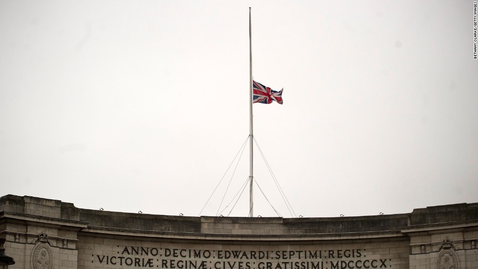 The Union Jack flies half-staff over Trafalgar Square in London ahead of Thatcher's funeral procession on April 17.