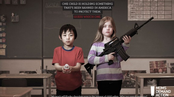 Moms for Gun Safety ran this ad, questioning why a type of chocolate is banned to protect kids but not assault weapons.