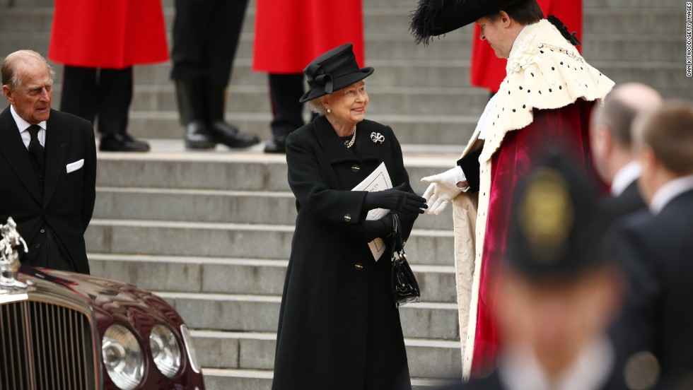 Queen Elizabeth II leaves the funeral at St. Paul's Cathedral.