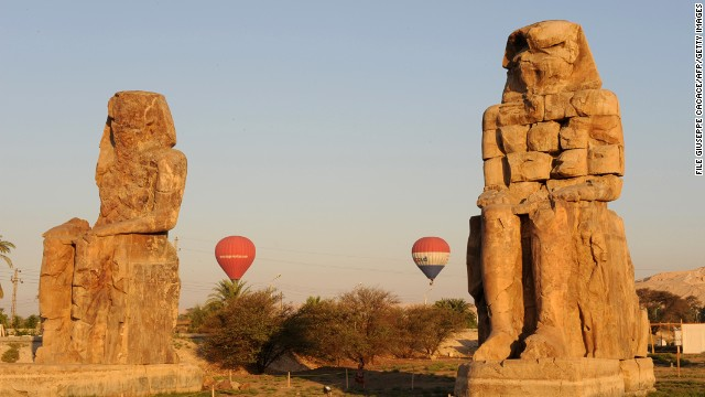 A file image of balloons flying over Luxor. One of Egypts top tourist draws, visitors go to see ancient temples and tombs.