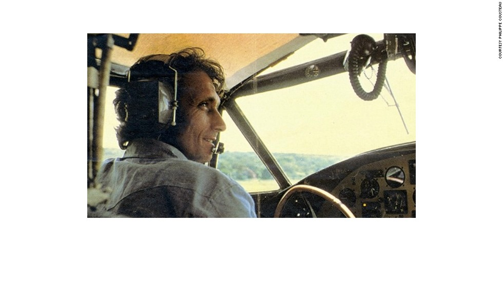 "Philippe Cousteau, Sr, photographed in the cockpit of his plane ""The Flying Calypso."""