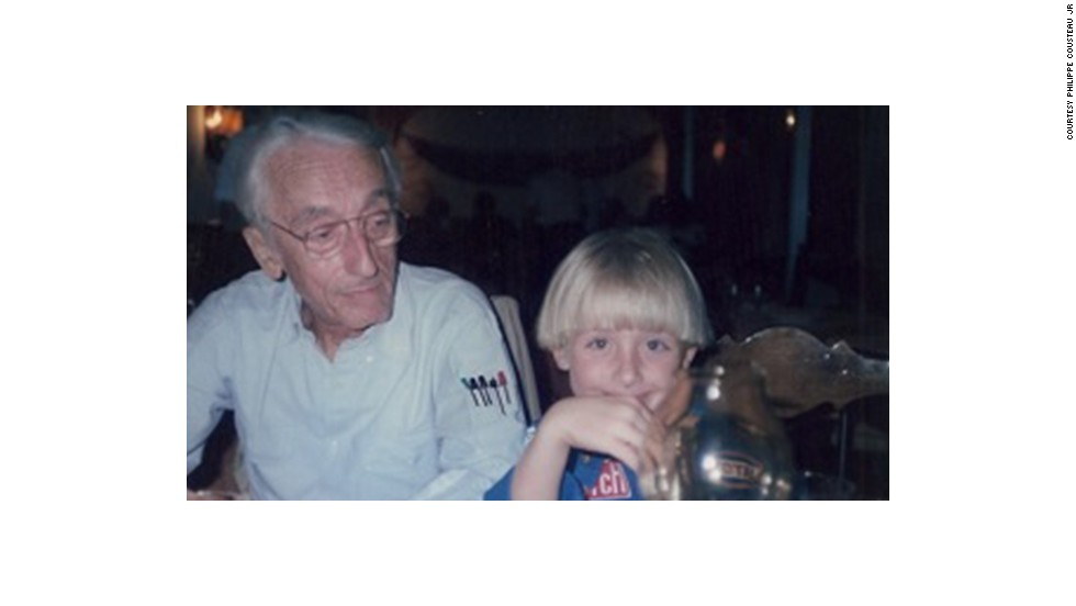 Jacques Cousteau with his grandson, Philippe Cousteau, Jr.