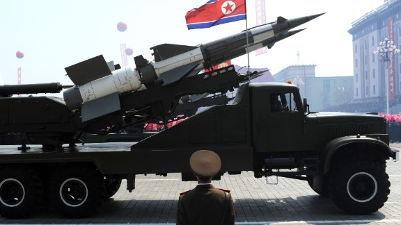 A missile is displayed during a military parade to mark 100 years since the birth of North Korea