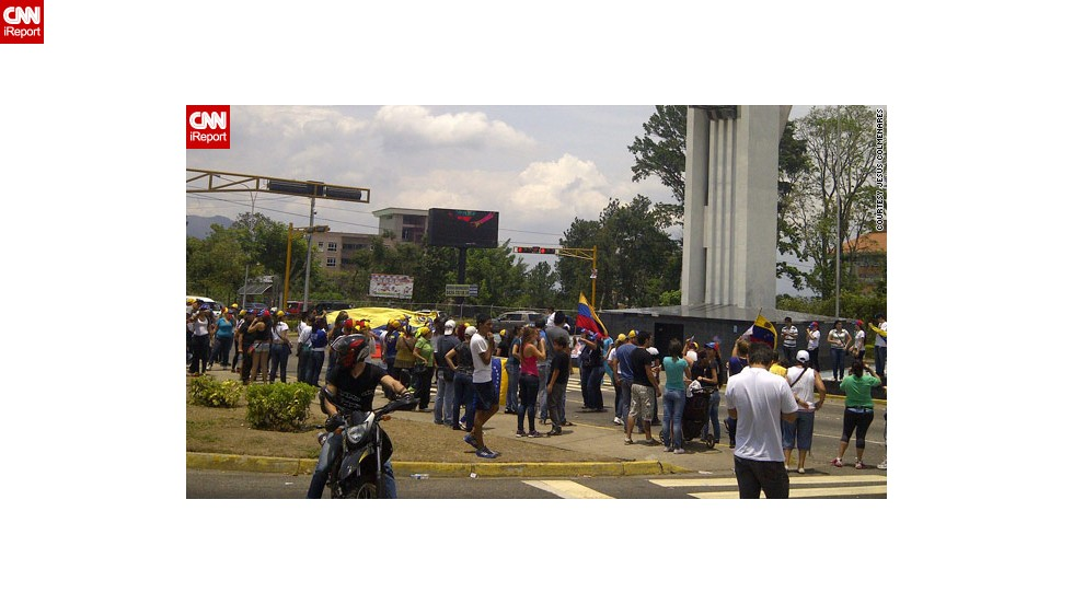 "Protesters thronged the streets in San Cristobal to demonstrate their belief that ""Capriles won,"" says opposition supporter <a href=""http://ireport.cnn.com/docs/DOC-956330"">Jesus Colmenares</a>."