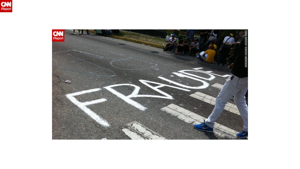 "Opposition protesters made their feelings clear in this road graffiti, as seen in iReporter Manuel Sosa's <a href=""http://ireport.cnn.com/docs/DOC-957810"">image from Merida</a>, western Venezuela"