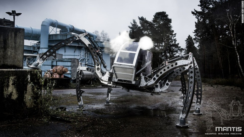 The Mantis robot, seen here clambering about an industrial yard, is the biggest, all-terrain operational hexapod in the world, according to its UK creators, Micromagic Systems.