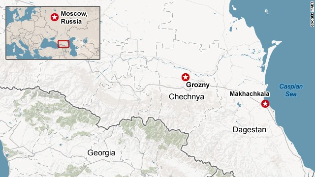 Map: Chechnya and Dagestan