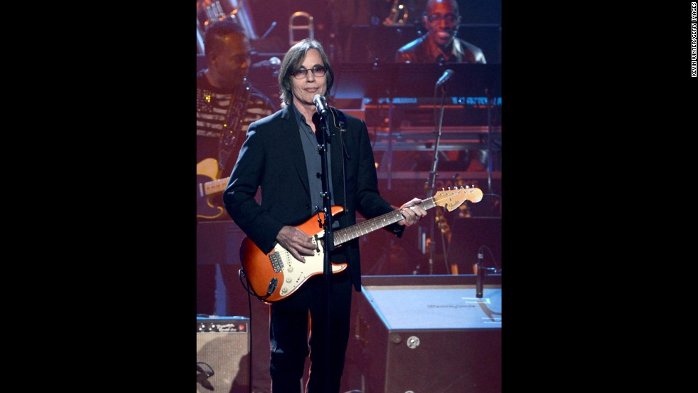 Jackson Browne performs onstage at the Rock and Roll Hall of Fame induction ceremony in Los Angeles.