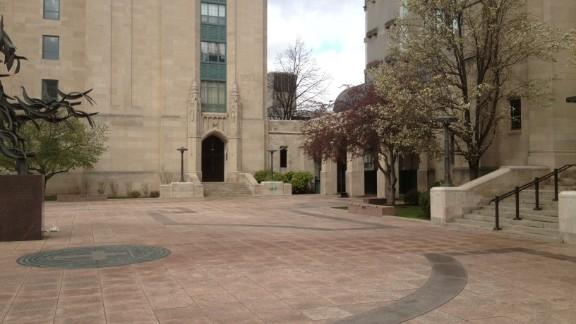 The usually bustling Boston University campus