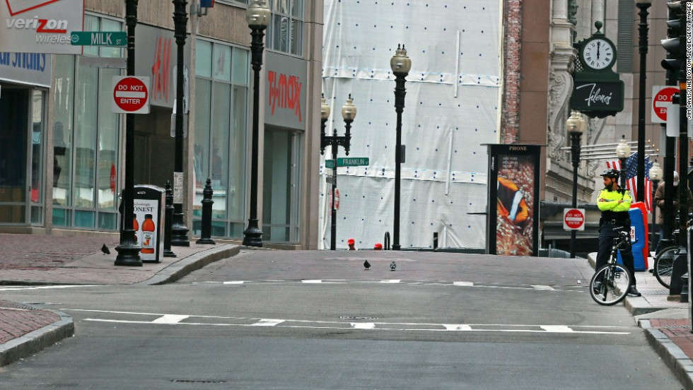 The area near Boston's Downtown Crossing would usually be filled with lunchtime crowds.