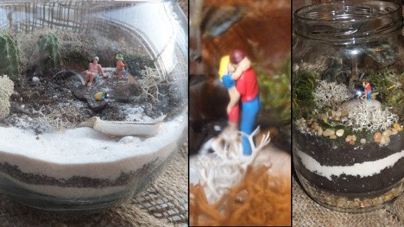 """Toni Freda and Steve Nardone shared these photos of two terrarium displays. At left is """"Beach Day with Papa,"""" and """"Reasons of Love"""" is on the right."""