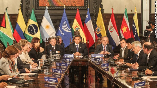 Partial view of the Presidents of UNASUR meeting in Lima to discuss about Venezuelan election on April 19, 2013.