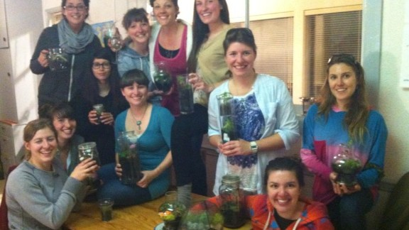 Gillian Walker of Victoria, British Columbia, got together with friends to gather materials and make terrariums together.