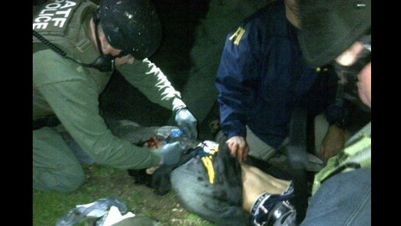 An image posted to the social sharing website Reddit purportedly shows Dzhokhar Tsarnaev being detained by law enforcement officers.
