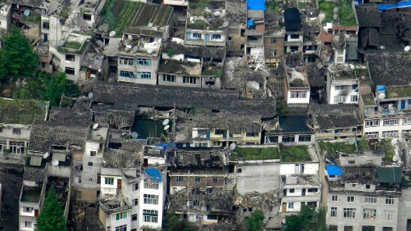 This photo taken on a helicopter shows the quake-destroyed houses in Taiping Town in Ya