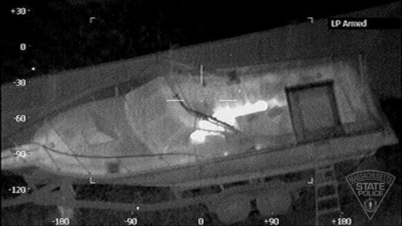 Special imaging techniques employed by Massachusetts State Police reveal Boston Marathon bombing suspect Dzhokhar Tsarnaev hiding in a boat in a backyard in Watertown on April 19.