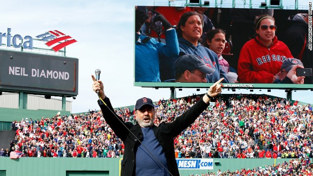 "Neil Diamond sings ""Sweet Caroline"" at Fenway Park on Saturday, April 20."