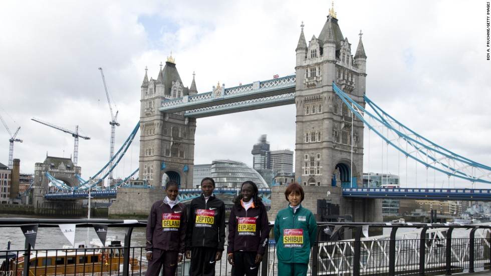 Tiki Gelana, Edna Kiplagat, Priscah Jeptoo, Renee Baillie and Yoko Shibui attends the photocall for International Women photocall ahead of The the London Marathon at The Tower Hotel on April 18, 2013 in London, England.