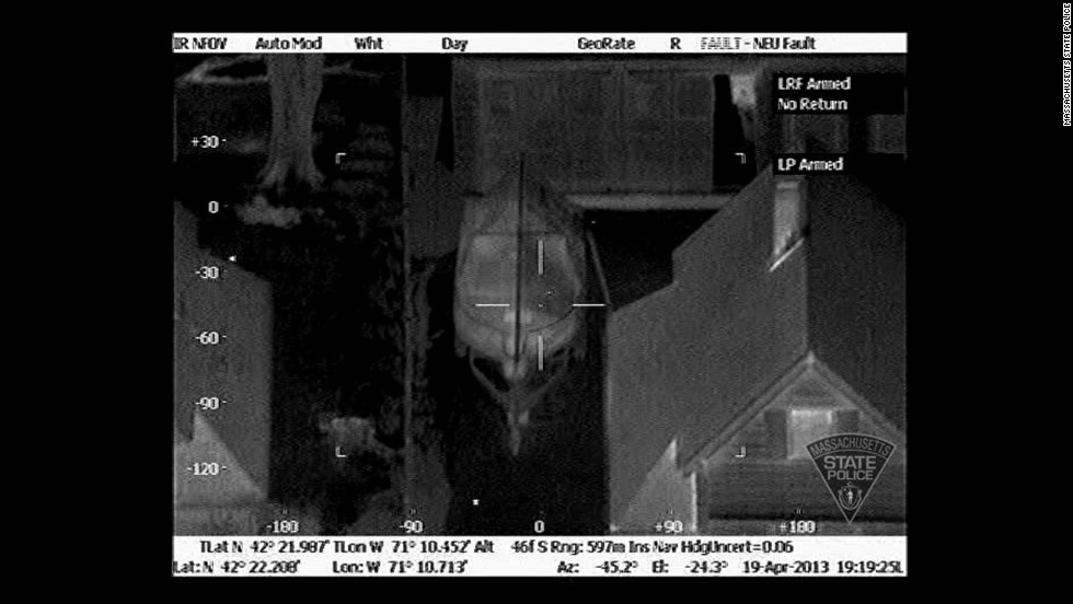 Massachusetts State Police released thermal images of Tsarnaev hiding in the boat on April 19, 2013. They were taken by an infrared device on a helicopter. The first image was taken at 7:19 p.m., less than 20 minutes after a homeowner told police there was a bloodied person in his boat.