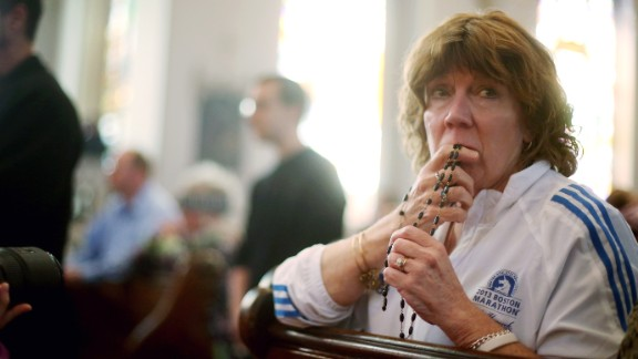 Nurse practitioner Maureen Quaranto treated bombing victims. She attended Mass at the Cathedral of the Holy Cross Sunday.
