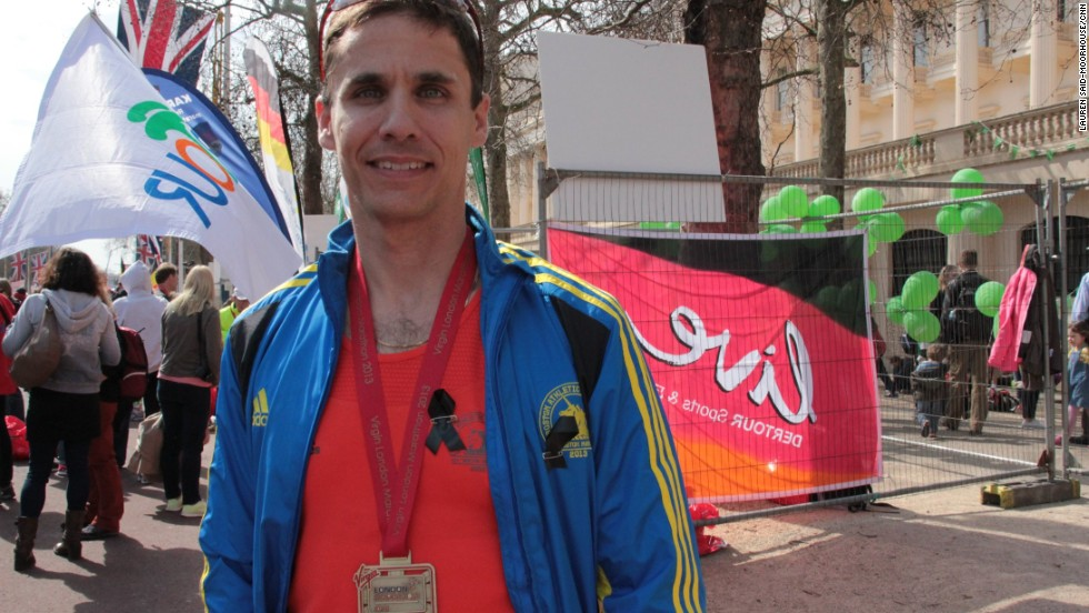 "American Greg Takacs, 36, ran in the Boston Marathon last week and proudly wore his Boston race shirt adorned with black ribbons. Describing the 30-second silence at the start of the race, he told CNN: ""It was so silent and very moving ... For that many people to be that quiet -- it was incredible. Wow."""