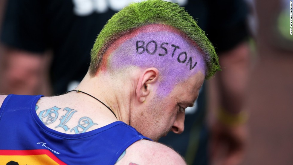 "A competitor at the London Marathon inscribed the word ""Boston"" into his hair at the London Marathon on April 21."