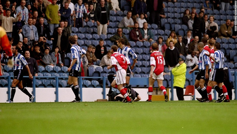 Paolo Di Canio has often courted controversy during his career. The Italian, who recently faced allegations of holding fascist views following his appointment as Sunderland manager, pushed referee Paul Alcock to the floor during a match against Arsenal in September 1998. Di Canio was given a red card and suspended for 11 games.