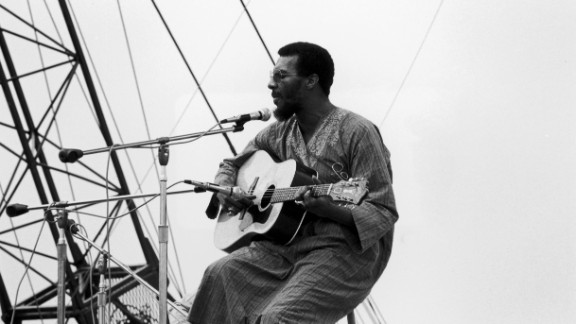 Havens performs at Woodstock. After gaining attention at the festival, the New York native recorded a soulful cover of the Beatles