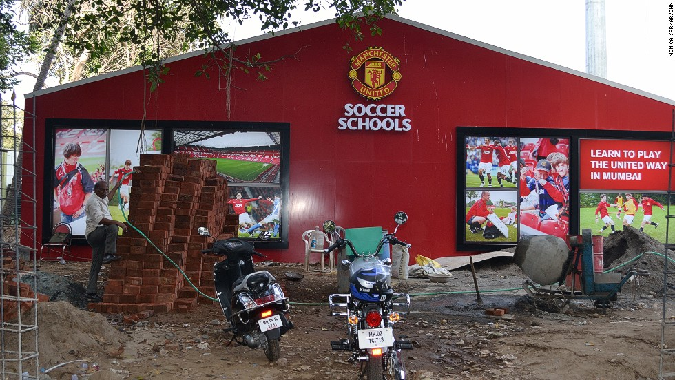 "The Manchester United Soccer School in Mumbai pictured during its development stages in May 2012. Head coach Chris O-Brien says: ""It's not talent identification -- it's open to all abilities, gender and ages to appreciate what Manchester United is all about. If we develop players from that, fantastic."""