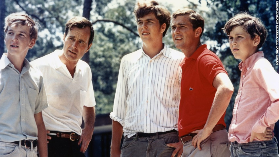 George H.W. Bush with his four sons, from left, Neil, Jeb, George W. and Marvin in 1970
