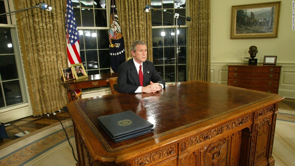 "George W. Bush tells the nation on March 19, 2003, that U.S. forces had struck ""targets of opportunity"" in Iraq to begin the Iraq War."