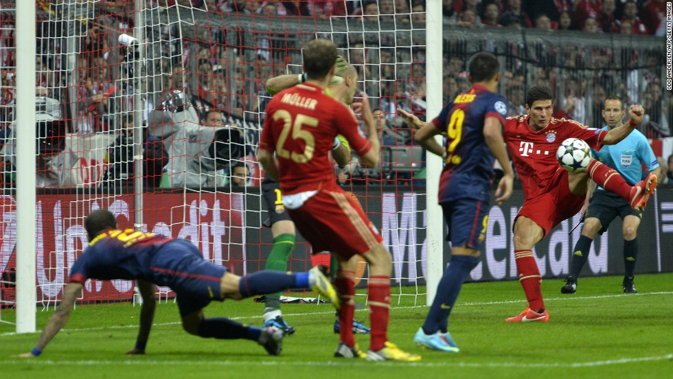Mario Gomez turned home Bayern's second four minutes after the break -- despite appearing to be in an offside position. The Germany international converted from two yards after Muller had headed towards goal.