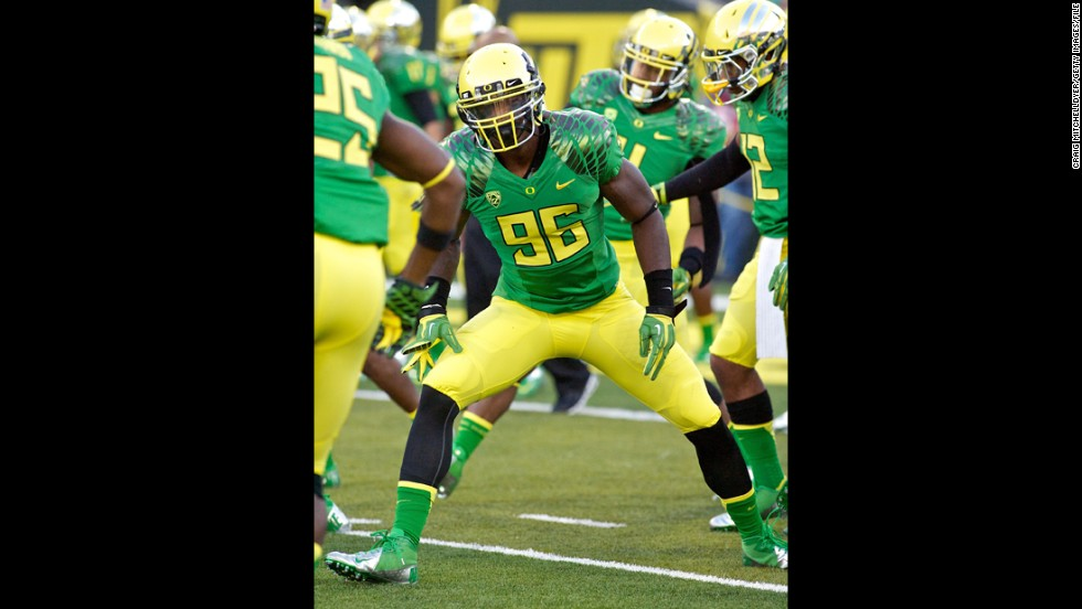Dion Jordan of the Oregon Ducks warms up before a game against the Arkansas State Red Wolves on September 1, 2012, in Eugene, Oregon.