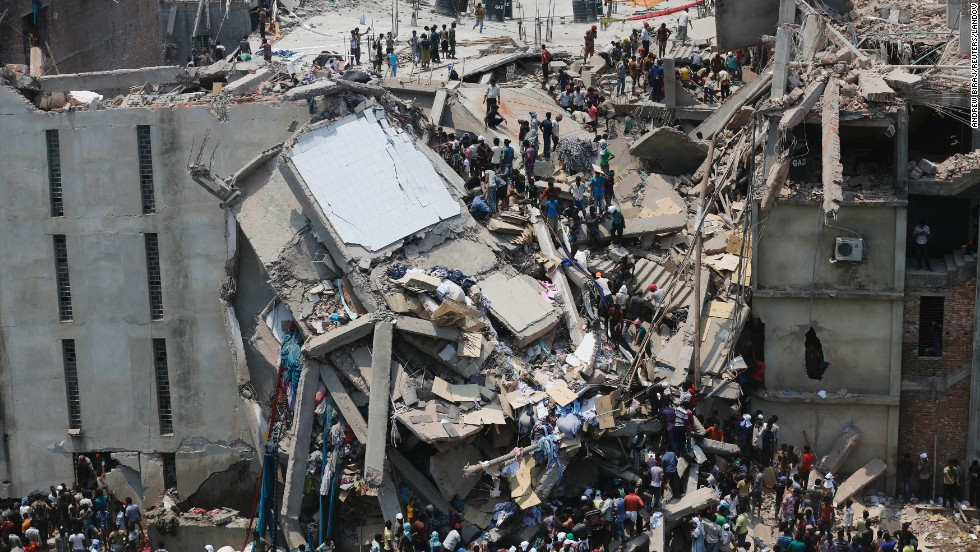 "<strong>Garment factory collapse:</strong> More than 1,000 people died <a href=""http://www.cnn.com/2013/05/10/world/asia/bangladesh-building-collapse/index.html"">in the May 10 collapse of the Rana Plaza building</a> in Savar, Bangladesh, making it one of the world's worst industrial disasters."