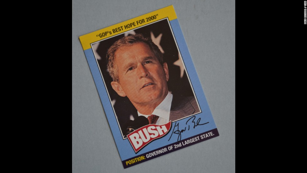 "Bush a longtime baseball fan -- the first ""Little Leaguer"" to win the White House -- and one time part owner of the Texas Rangers - had his own campaign baseball cards."