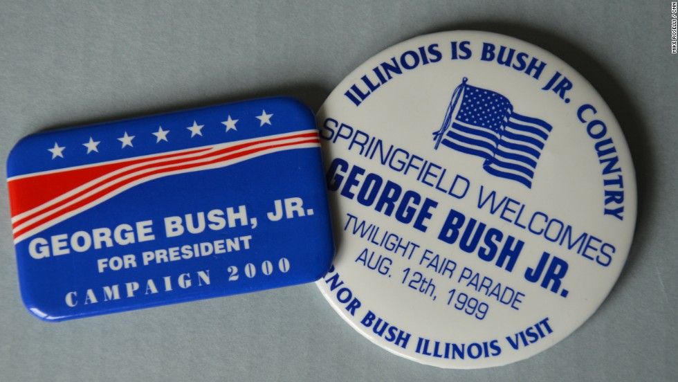 And buttons that didn't get the candidate's name just right.  Dad is George H.W. Bush -- son is George W. Bush.
