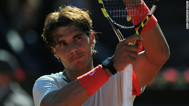 Spanish player Rafael Nadal celebrates after his winning return in the Barcelona Open.