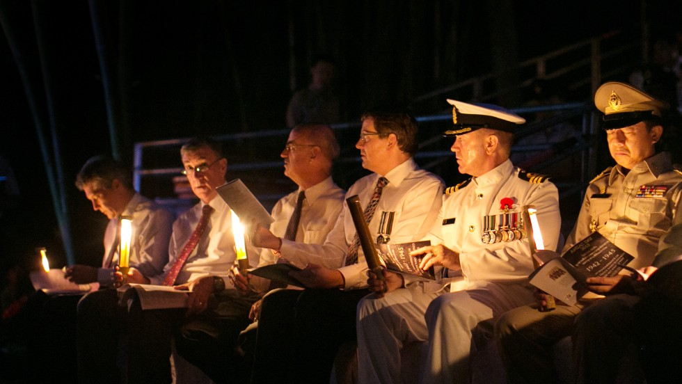 Australian and New Zealand dignitaries, including both countries' ambassadors to Thailand, attend a sunrise memorial service on Thursday in Hellfire Pass -- a small section of the Myanmar-Thailand railway that was built by POW's and Asian laborers under horrific conditions during WWII.
