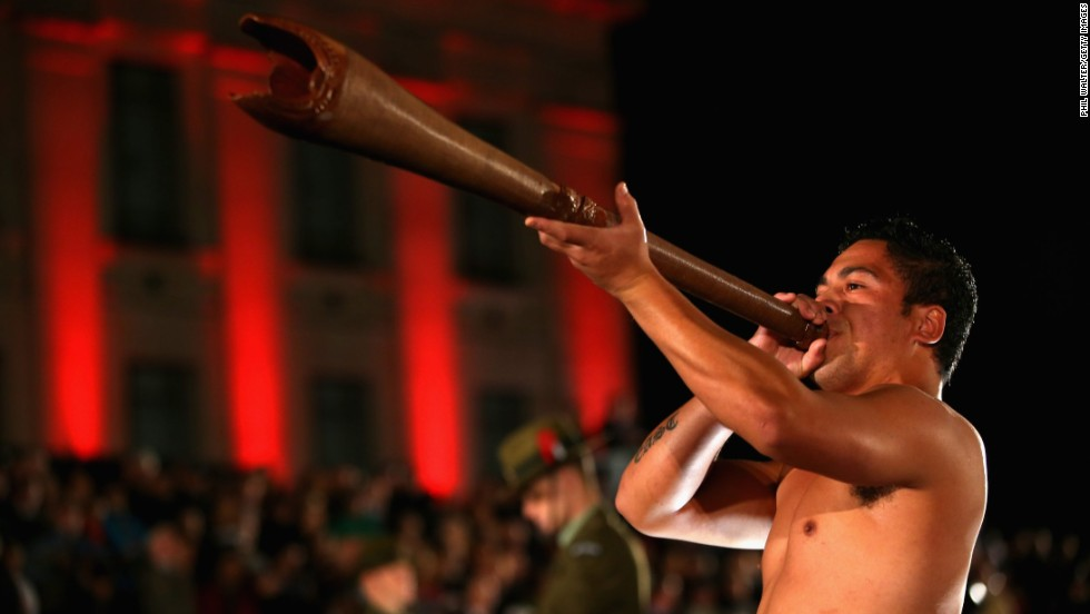 A Maori warrior plays a Pukaea (Maori trumpet) at the Cenotaph during the ANZAC Day dawn service at the Auckland War Memorial Museum on Thursday in Auckland, New Zealand. ANZAC Day is a public holiday in both Australia and New Zealand and commemoration events are held in remembrance of those who fought and died in all wars.