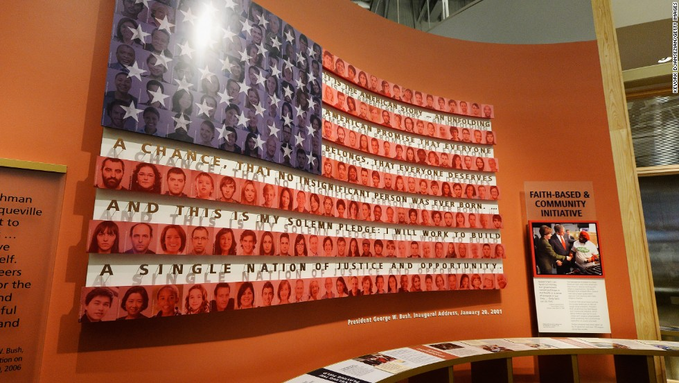 This display relates to the Bush administration's faith-based and community initiative.