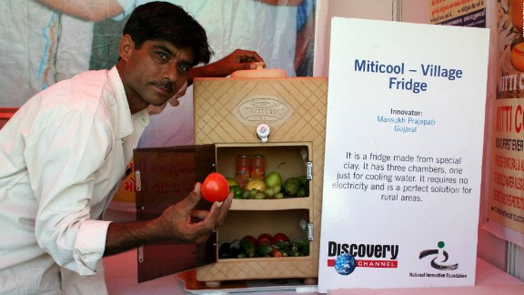 The Mitticool Fridge was developed and launched by Indian engineer, Mansukhbhai Prajapati (pictured), in 2006. Made entirely from clay, the device costs roughly $50 and uses no electrical power. It can keep items of food fresh for up to five days and has been a valuable addition to rural communities in India.