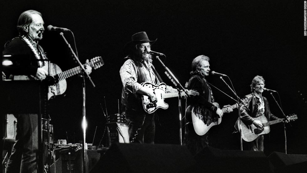 Left to right: Nelson, Waylon Jennings, Johnny Cash, and Kris Kristofferson perform together in Rotterdam in 1992.