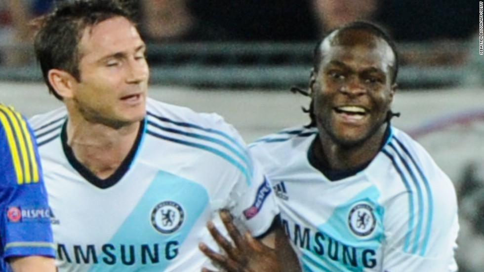 Victor Moses celebrates with Frank Lampard after scoring for Chelsea in their Europa League semifinal against FC Basel.